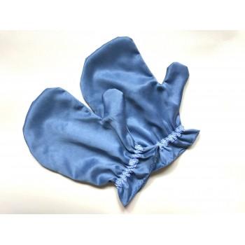 Guantini per impacchi alle mani in cupro/cotone Azzurro Polvere - Beauty Things Handmade
